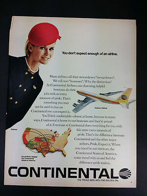 1968 Continental Airlines Vintage Magazine Print Ad Advertisement