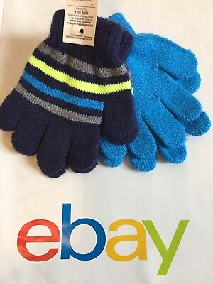 2 Pair Boys Girls Knit Gloves Mittens Baby Toddler Size 2T 3T Navy Blue Stripes