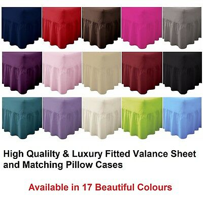Poly Cotton Plain Dyed Fitted Valance Sheets & Matching Pillow Cases in All size