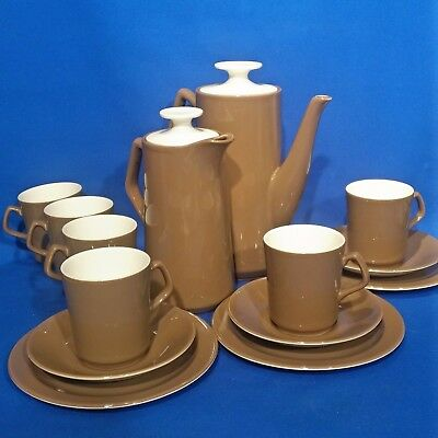 Vintage 1958 BESWICK Brown, Cream COFFEE SET for 6 - Pots, Cups, Saucers, Plates
