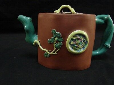 Unique and Attractive Asain japan chinese clay Mejolica teapot w/makers mark