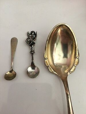 3 Sterling Vintage Spoons - 2 salt - 1 teaspoon