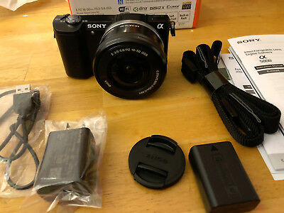 New in Box Sony Alpha A5000 Black Mirrorless Digital Camera with 16-50mm Lenskit