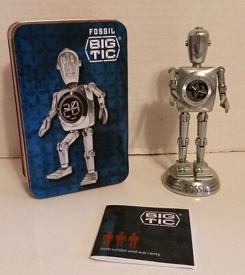 Fossil Big Tic Robot Clock Jointed Stainless Steel  w/ Tin Box Stan the Man