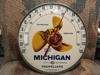 Vintage Michigan Propeller Gas Boat Motor Tin Non Porcelain Thermometer Sign WOW