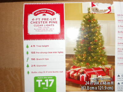Christmas Tree 4 FT PRE-LIT Chester Pine 105 Clear Lights & Pine Cones/Berries