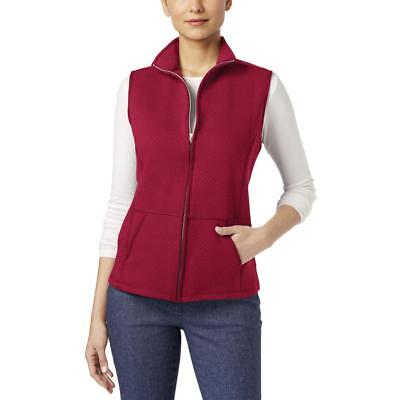 Karen Scott 4628 Womens Red Quilted Zip-Front Collared Casual Vest S BHFO