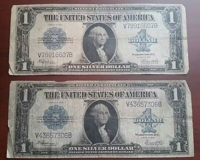 2 1923 $1 Silver Certificate Large Size Notes - Nice Circulated Notes
