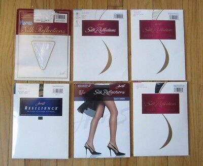 Lot of 6 Hanes Silk Reflections Size EF Black Pearl White Mixed Styles