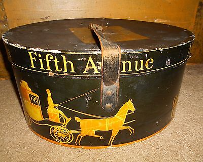 ANTIQUE 1920s DOBBS FIFTH AVE HAT BOX W/ LEATHER STRAP-DOBBS FITH AVE HAT BOX