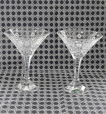 Stephanie by GODINGER Handcrafted Lead Crystal Martini Glasses Set 2 pcs