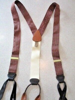 Trafalgar Brown on Brown Ribbon dark Leather Button-on Suspenders Braces England