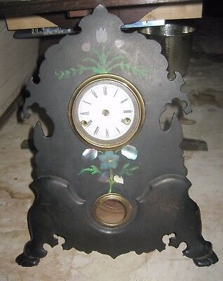Small Cast Iron Front Unsigned Shelf Clock MOP Inlay to Restore NR