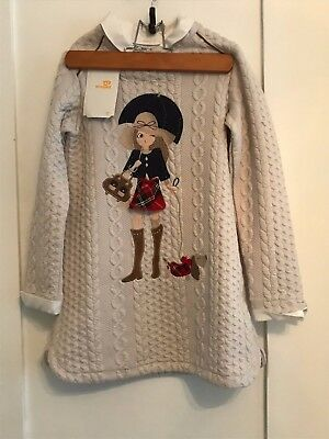 New MAYORAL Girl With Umbrella Dress Size 7T NWT Sweater Dress