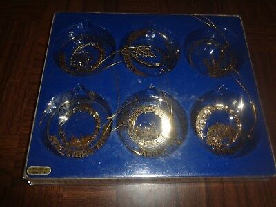 Solid Brass Christmas Tree Ornaments Vermont Lot Of 6 In Box