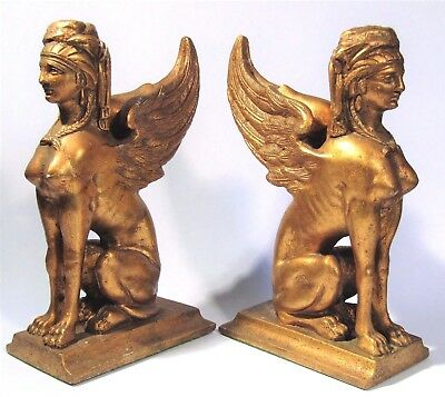 Ancient Greek Winged Sphinx Bookends Gilt Sculpture Statue French Empire Style