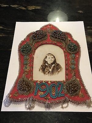 Antique Native American Iroquois Beadwork Beaded Picture Frame Floral & Fringe