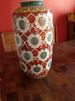 Large Antique Chinese Porcelain Vase With Green, White, Beige & Barn Red Colors
