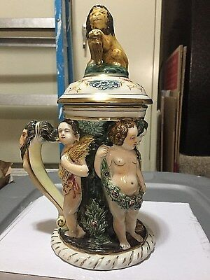 Vintage Capodimonte stein with repaired lid.