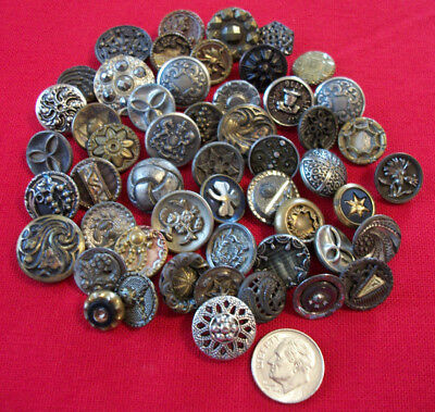 50 Antique Vtg Small Metal Buttons Victorian + More Craft Collect  #B8