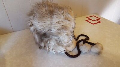 Vintage Faux Fur Skater Snow Bunny Hat with Pom Pom Ties Woman Teen Child