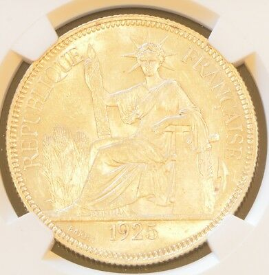 1925 A FRENCH INDO-CHINA One Piastre Silver Coin NGC MS 63