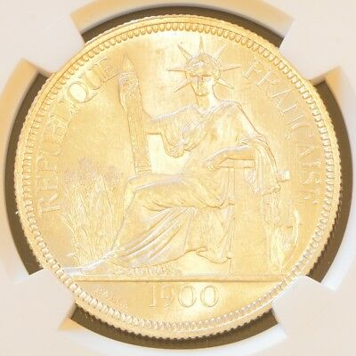 1900 A FRENCH INDO-CHINA One Piastre Silver Coin NGC MS 63