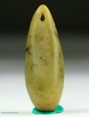 142) Ancient Pre Columbian Moche Indian Steatite Stone Bead Pendant Artifact