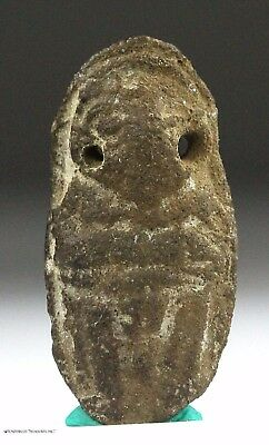 144) Ancient Pre Columbian Chimu or Moche Indian Ceramic Amulet Pendant Artifact