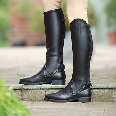 Shires Synthetic Leather Unisex Footwear Riding Gaiters - Black All Sizes