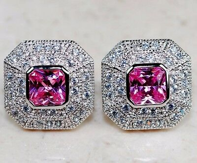 6CT Pink Sapphire & Topaz 925 Solid Genuine Sterling Silver Earrings Jewelry
