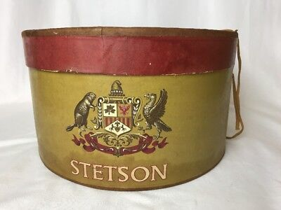 """Vtg STETSON Hat Box Oval For Fedora Derby Bowler Cowboy 13""""x14""""x7 Red Gold Eagle"""