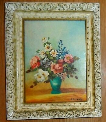 Vintage Signed Paris Apt Art Painting Shabby Flowers French Provincial Frame