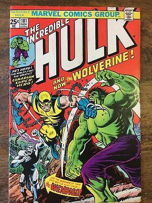 The Incredible Hulk #181 - 1st Appearance of Wolverine - FN - MVS stamp intact