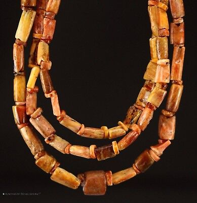 157) Ancient Pre Columbian Moche or Chimu Spondyllus Tube Beads Necklace