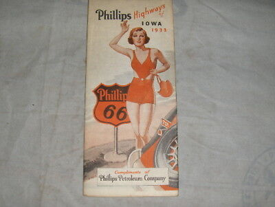 Rare 1933 Vintage Phillips Petroleum 66 IOWA State Old Road Map of Highways