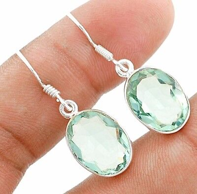 10CT Aquamarine 925 Solid Sterling Silver Earrings Jewelry 1 1/3'' Long