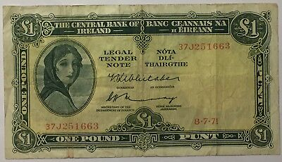 ~~1971 Central Bank of Ireland 1 Pound Bank Note~~ GREAT NOTE!! CIRCULATED #066✩