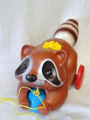Fisher Price Vintage RACCOON Pull Toy