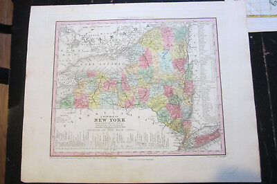 A New Map of New York , NEW UNIVERSAL ATLAS by Henry S. Tanner 1840