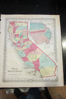 California, inset of San Francisco , Colton's General Atlas by J.H Colton 1860