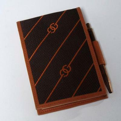 Vintage 1980's Gucci Canvas And Saddle Leather Logo Gg Notepad