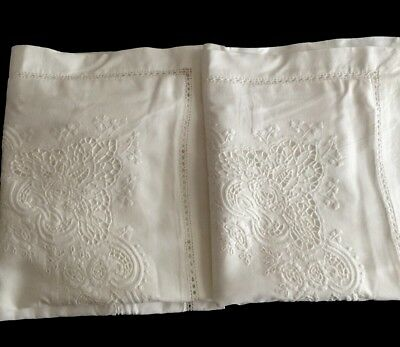Beautiful Antique French Pillow Shams With Embroidery And Cutwork Design