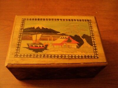 Vintage inlaid Japanese puzzle box