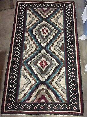 "ATQ vintage Navajo Native American Indian 65""x 38"" Eye Dazzler Rug Weaving"