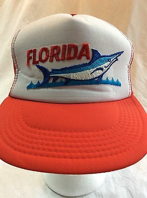 Vintage Florida Marlin Trucker Hat Cap Snapback Mesh Hipster College Red