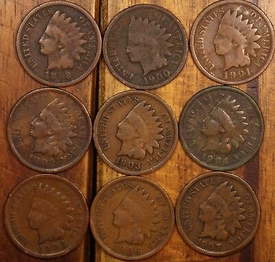 9 Indian head penny cents us coins all different dates #1