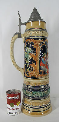 "HUGE! Vintage Marzi Remy 4 L 20"" German Lidded Beer Stein #1508 Tavern Scene yqz"
