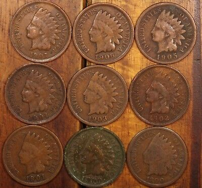 9 Indian head penny cents us coins all different dates #2