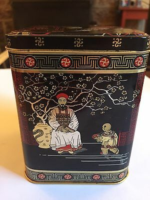 Vintage CHINESE ASIAN THEME Metal Tin Hinged Lid ENGLAND Red Black And Gold